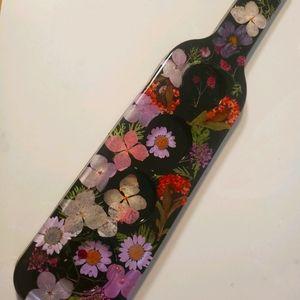 Floral / Black Resin Candle / shot glass holder